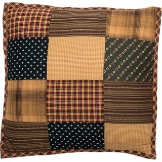 Red Primitive Bedding VHC Patriotic Patch 16x16 Pillow Cotton Patchwork (Pillow Cover, Pillow Insert)
