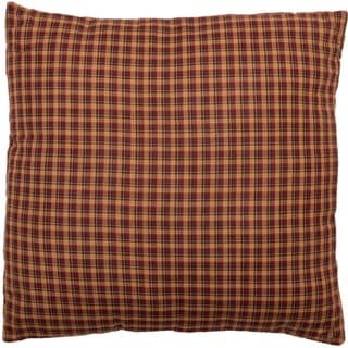 Red Primitive Bedding VHC Patriotic Patch 16x16 Pillow Cotton Plaid (Pillow Cover, Pillow Insert)
