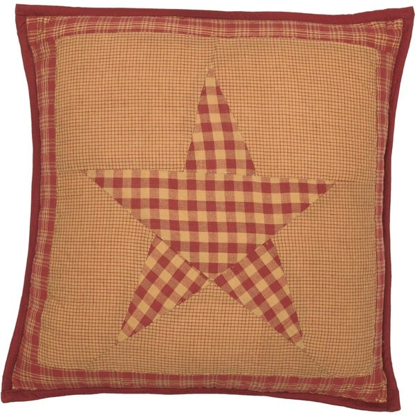 Red Primitive Bedding VHC Ninepatch Star 16x16 Pillow Cotton Star Patchwork (Pillow Cover, Pillow Insert)