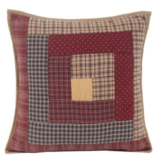 Red Rustic Bedding VHC Millsboro 16x16 Pillow Cotton Patchwork (Pillow Cover, Pillow Insert)