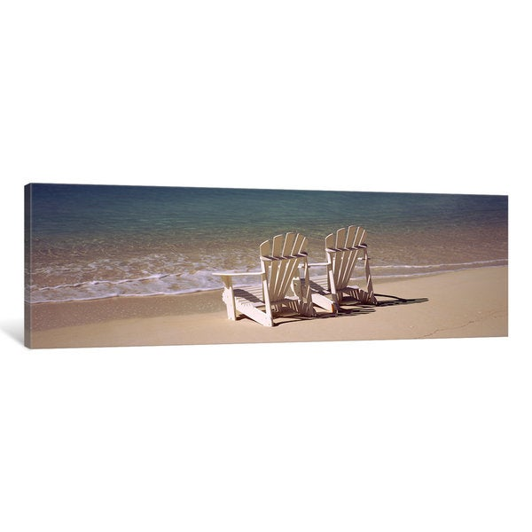 iCanvas Adirondack chair on the beach, Bahamas by Panoramic Images Canvas Print