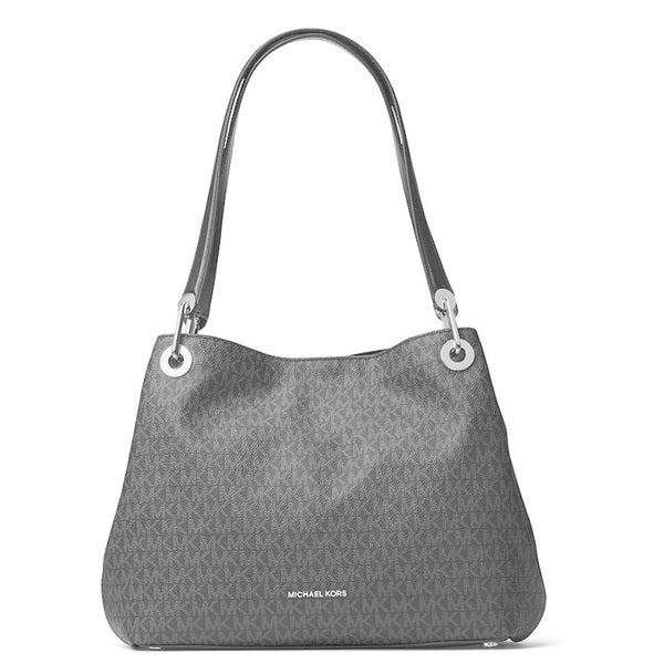 594ab8a04f44 Shop Michael Kors Raven Signature Large Black Shoulder Tote Bag - Free  Shipping Today - Overstock - 15436703