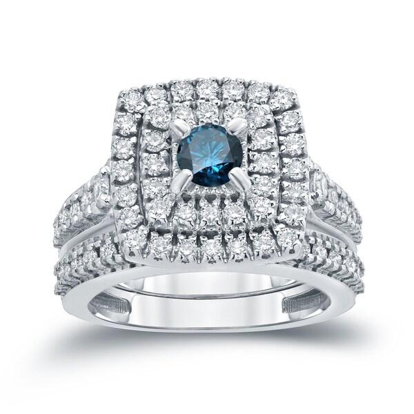 Auriya 14k 1 3/5ct TDW Round Blue Diamond Halo Bridal Ring Set