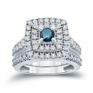 Auriya 14k 1 3/5ct TDW Round Blue Diamond Cluster Bridal Ring Set ( H-I I1-I2)