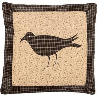 Black Primitive Bedding VHC Kettle Grove Crow 16x16 Pillow Cotton Nature Print Appliqued (Pillow Cover, Pillow Insert)