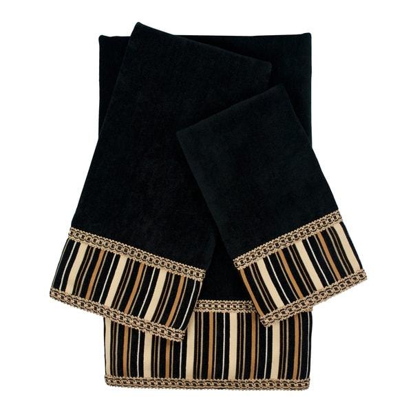 Sherry Kline Crandon Stripes Black Decorative Embellished Towel Set