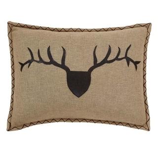 Tan Rustic Bedding VHC Dawson Star Trophy Head 14x18 Pillow Cotton Nature Print Appliqued Cotton Burlap