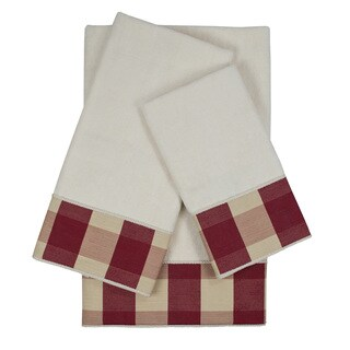 Sherry Kline Holbrook Checkered Cord Red Decorative Embellished Towel Set
