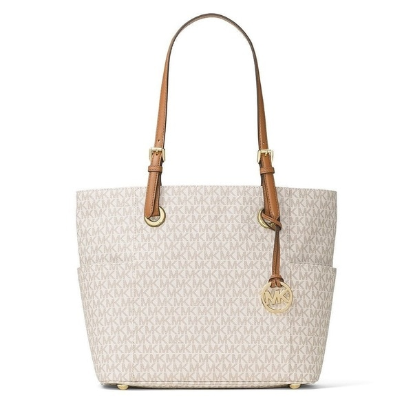 a7bf54c9f1001 Shop Michael Kors Jet Set Travel Small Vanilla Logo Tote Bag - Free ...