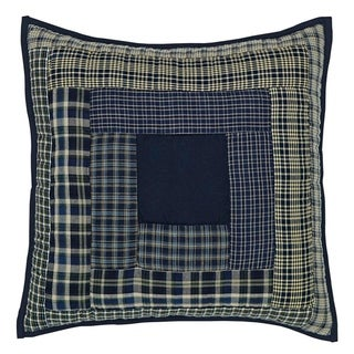 Blue Rustic Bedding VHC Columbus 16x16 Pillow Cotton Patchwork (Pillow Cover, Pillow Insert)