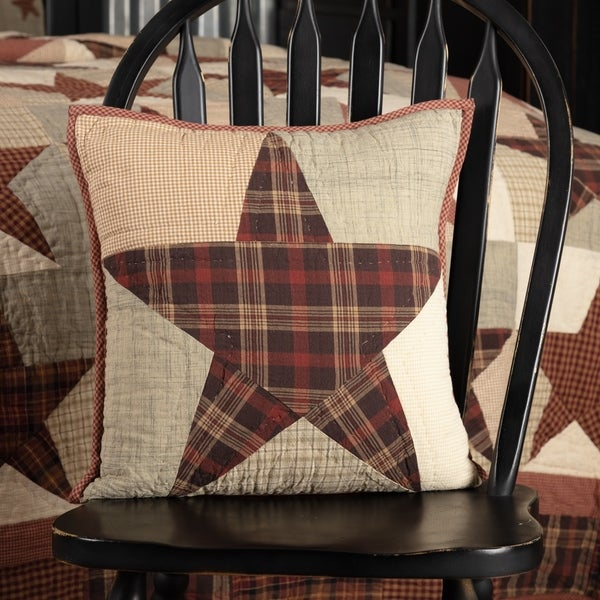 Red Country Bedding VHC Abilene Star 16x16 Pillow Cotton Star Patchwork (Pillow Cover, Pillow Insert)
