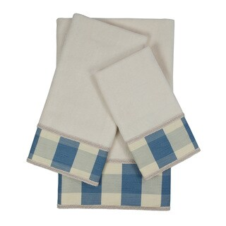 Sherry Kline Holbrook Checkered Gimp Blue Decorative Embellished Towel Set