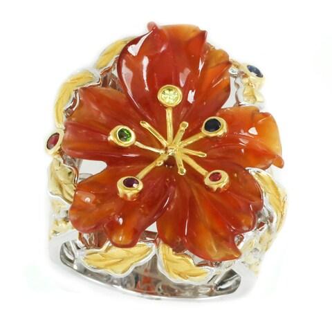 Michael Valitutti Palladium Silver Flower Carved Carnelian & Multi Gemstone Ring - Size 7