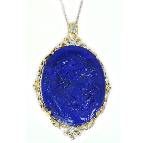 Michael Valitutti Palladium Silver Carved Portrait Lapis & Swiss Blue Topaz Pendant
