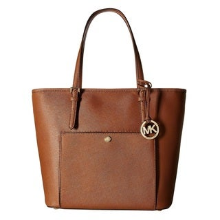 Michael Kors Jet Set Luggage Brown Large Snap Pocket Tote Bag
