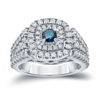 Auriya 14k Gold 1 1/4ct TDW Blue Diamond Cluster Engagement Ring (H-I, I1-I2)
