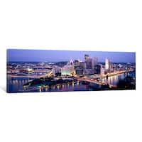 iCanvas 'Buildings in a city lit up at dusk, Pittsburgh, Allegheny County, Pennsylvania, USA' by Panoramic Images Canvas Print