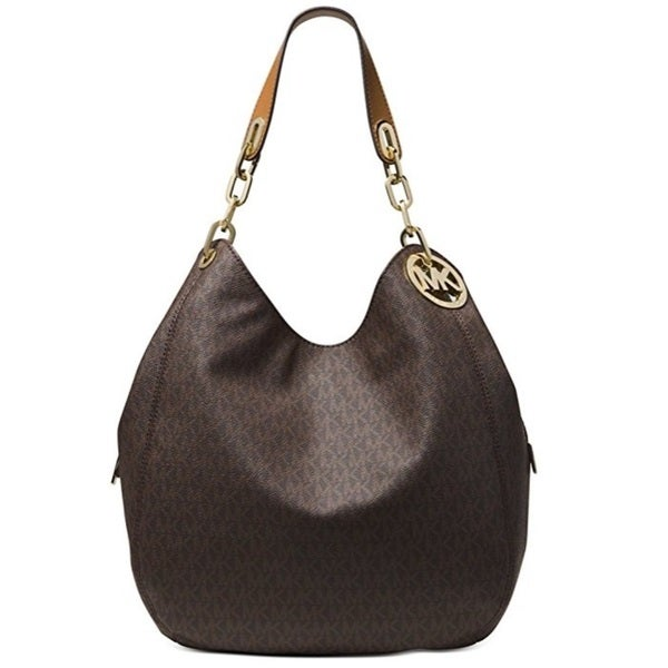 e6c6c8159bc9 Shop Michael Kors Fulton Large Brown Signature Leather Shoulder Handbag -  On Sale - Free Shipping Today - Overstock - 15436858