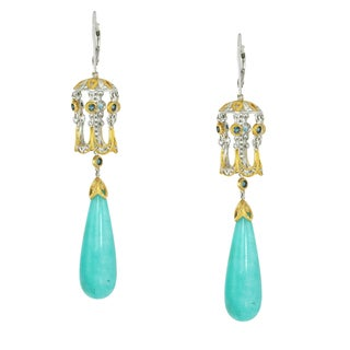 Michael Valitutti Palladium Silver Amazonite & London Blue Topaz Dangling Earrings