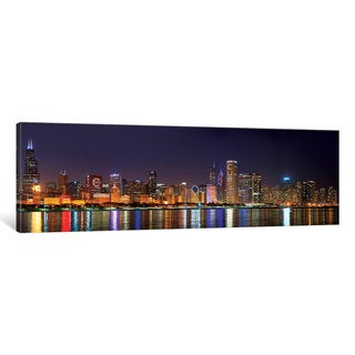 iCanvas 'Chicago Cubs Pride Lighting Across Downtown Skyline I, Chicago, Illinois, USA' by Panoramic Images Canvas Print