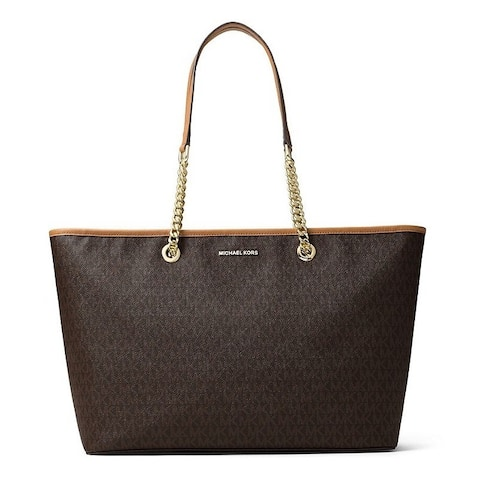 Michael Kors Signature Jet Set Travel Medium Brown Multifunction Tote Bag