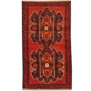 Herat Oriental Afghan Hand-knotted Tribal Balouchi Wool Rug (3' x 5'3)