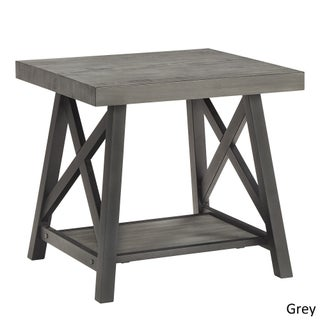 Bryson Rustic X-Base End Table with Shelf by iNSPIRE Q Classic (2 options available)