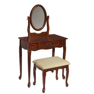 Powell Woodland Cherry Vanity, Mirror, and Bench
