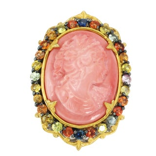 Michael Valitutti Palladium Silver Carved Face Salmon Bamboo Coral Cameo and Multi Sapphire Ring
