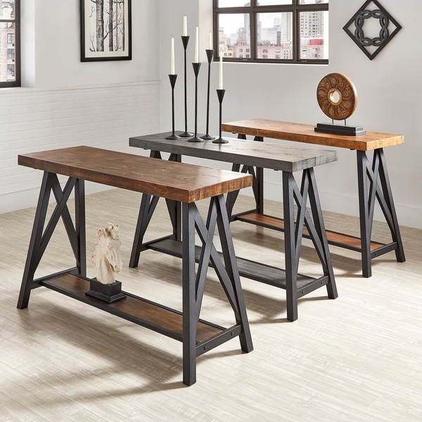 Bryson Rustic X-Base Sofa Entryway Table by iNSPIRE Q Classic. Opens flyout.