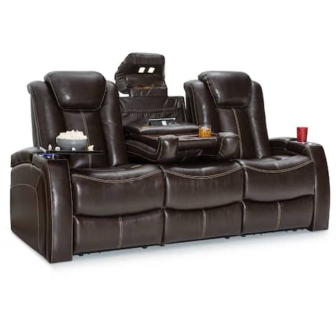 Seatcraft Republic Leather Home Theater Seating Power Recline Sofa with Fold-Down Table and Cup Holders, Brown