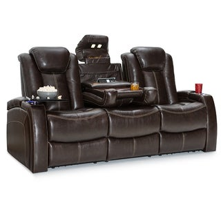 Seatcraft Republic Leather Home Theater Seating Power Recline Sofa with Fold Down Table, Brown