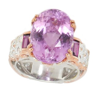 Michael Valitutti Palladium Silver Kunzite & Rhodolite Ring - Size 7