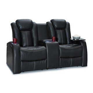 Seatcraft Republic Leather Home Theater Seating Power Recline - Loveseat w/ Storage Console, Black