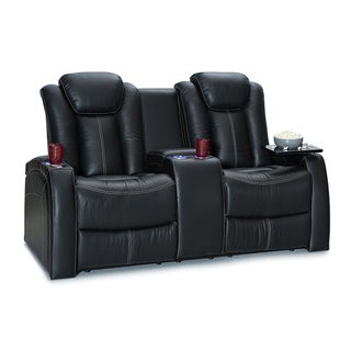 Seatcraft Republic Leather Home Theater Seating Power Recline Loveseat with Storage Console, Black