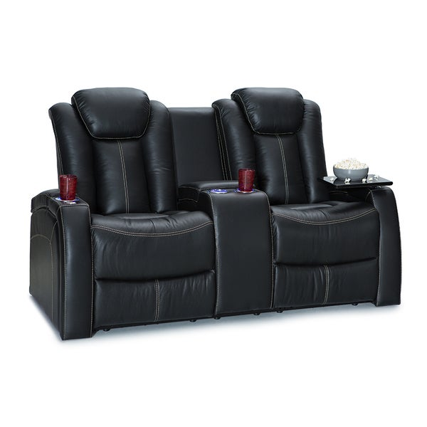 Seatcraft Republic Leather Home Theater Seating Recline Loveseat With Storage Console Black