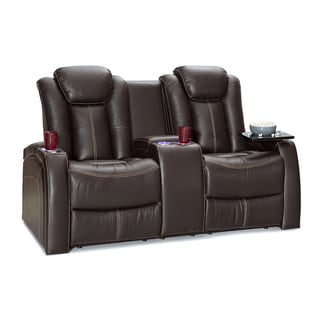 Seatcraft Republic Leather Home Theater Seating Power Recline Loveseat with Center Storage Console and Cup Holders, Brown