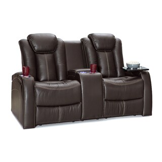Seatcraft Republic Leather Home Theater Seating Power Recline Loveseat With  Storage Console, Brown