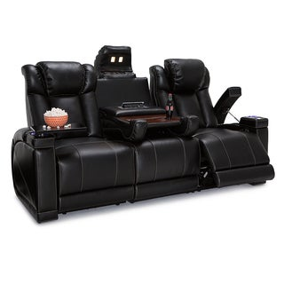 Seatcraft Sigma Leather Gel Home Theater Seating Power Recline Sofa with Fold-Down Table and Cup Holders, Black