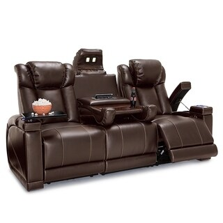 Seatcraft Sigma Leather Gel Home Theater Seating Power Recline Sofa with Fold-Down Table and Cup Holders, Brown