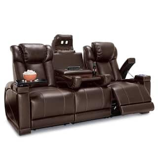Seatcraft Sigma Leather Gel Home Theater Seating Recline Sofa With Fold Down Table And