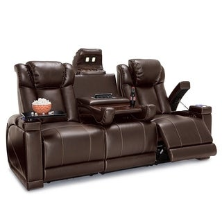 Lane Sigma Leather Gel Home Theater Seating Power Recline - Sofa w/ Fold Down Table  sc 1 st  Overstock.com : recliner chairs electric - islam-shia.org