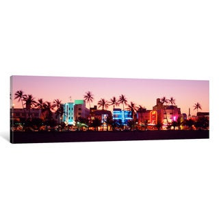iCanvas 'Night, Ocean Drive, Miami Beach, Florida, USA' by Panoramic Images Canvas Print