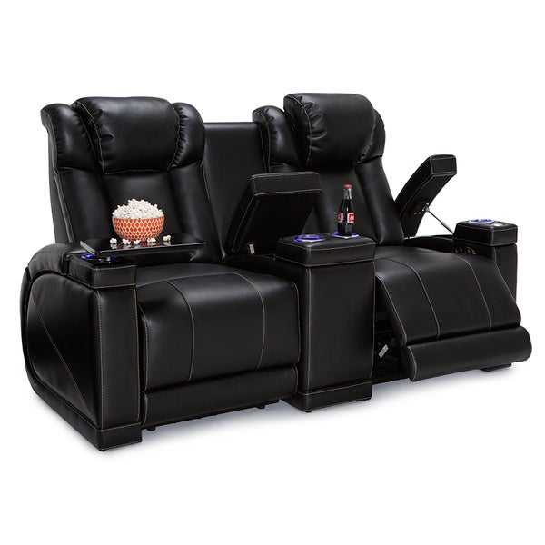 Seatcraft Sigma Leather Gel Home Theater Seating Power Recline Loveseat  With Storage Console, Black