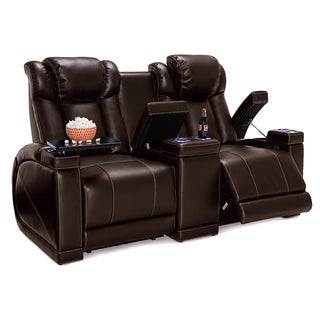 Seatcraft Sigma Leather Gel Home Theater Seating Power Recline Loveseat with Center Storage Console and Cup Holders, Brown