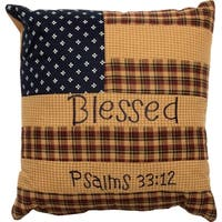 Patriotic PatchThrow Pillow Blessed 10x10