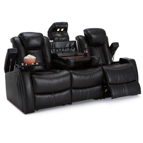 Seatcraft Omega Leather Gel Home Theater Seating Power Recline Sofa, Black