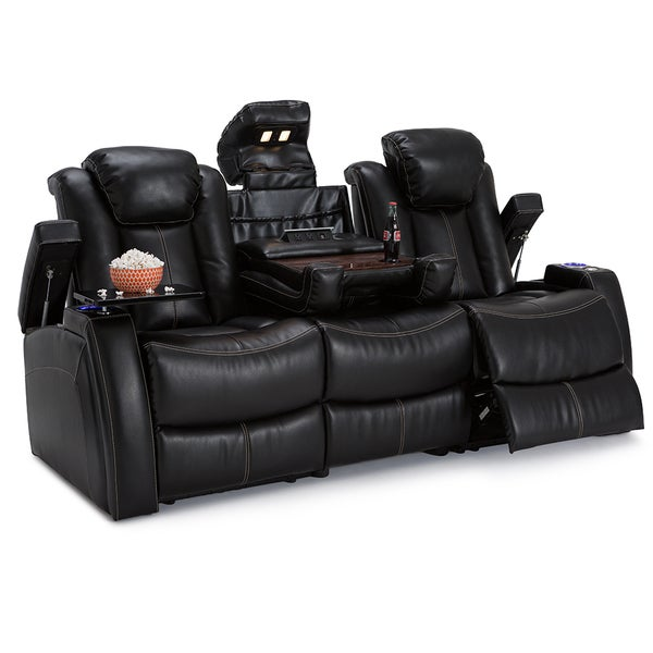 Lane Omega Leather Gel Home Theater Seating Power Recline Sofa W - Home theater sofa