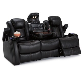 Seatcraft Omega Leather Gel Home Theater Seating Power Recline Sofa with Fold-Down Table and Cup Holders, Black