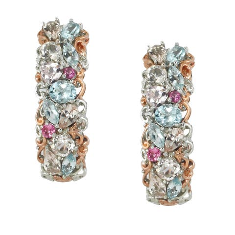 Michael Valitutti Palladium Silver Aquamarine & Morganite Multi Gemstone Earrings